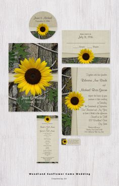 Woodland tree bark and leaves make a camo inspired wedding invitation accented with a bright yellow sunflower and a touch of burlap style design.Perfect for country outdoor, or woodland rustic weddings.  #wedding #weddingideas #rusticweddinginvitation #weddinginvitation