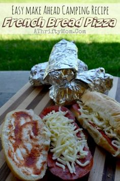 Going camping? Try these camping tips and hacks! camping menu recipe ideas, french bread pizza made on the campfire, camping hacks, dinner ideas for Camping Menu, Tent Camping, Camping Tips, Family Camping, Camping Checklist, Camping Essentials, Camping Cooking, Camping Stuff, Camping Activities