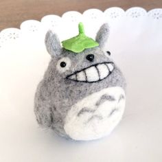 Hold onto your acorns, the next tutorial is Totoro!!! I made this using a kit from 1127Handcrafter on Etsy. I was amazed by the quality of the wool considering it was cheaper than Hamanaka. This wool is the best I've tried, it was easy to pull apart, felted super fast and did not leave ANY wispy bits on the surface (which is a problem with Hamanaka wool candy, and a huge issue with Daiso kits). The leaf hat was made quickly out of clay. There's a popular needlefelt Totoro video by @itsbubz…