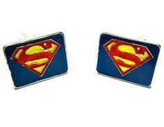 Superman Cufflinks : Yellow Logo Blue Rectangle - Superhero Cufflinks - Cufflinks