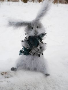 Gray hare in a scarf Mohair fluffy knitted by OlgaMareeva on Etsy, $120.00