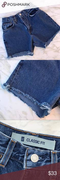 Gap Vintage Mom Jeans Cutoffs Medium Wash Size 4 What's hotter than mom jeans? Mom Jean Shorts! These homemade vintage high waisted jorts will make your waist look tiny and your legs a mile long! Perfect as they are or ready for you to distress them and add your own touch, these shorts are one of summer's biggest trends. These shorts are in great condition and will become your summer staple with tanks, tees, and your favorite shoes. GAP Shorts Jean Shorts