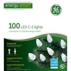 GE 100-Count LED C5 White Christmas String Lights ENERGY STAR