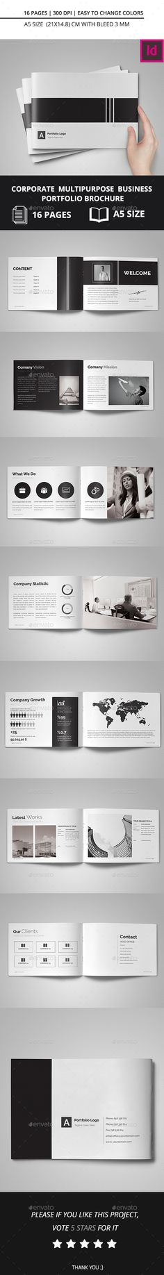 Corporate Multipurpose Business Portfolio Brochure Template InDesign INDD #design Download: http://graphicriver.net/item/corporate-multipurpose-business-portfolio-brochure/14059216?ref=ksioks