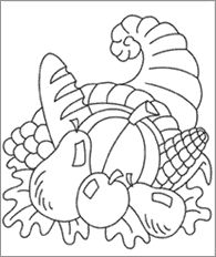 Thanksgiving Cornucopia Line Art