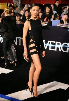 Maggie Q wears an Anthony Vaccarello LBD at the 'Divergent' LA premiere