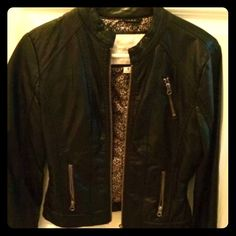 Faux Black Leather jacket $1.99 shipping 1hr Black leather jacket with cheetah lining. Cute to roll up sleeves and expose the fun print! Tags removed but never worn. Maurices Jackets & Coats