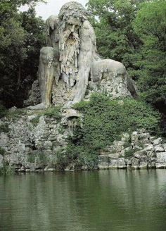"""The """"Appennine Colossus"""" by Giambologna in Vaglia, Tuscany, Italy 12 km north of Florence, reached from the main road to Bologna."""