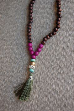 Boho Beaded Tassel Necklace Violet by shopjustpeachy on Etsy, $20.00