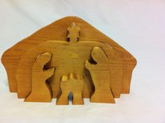 Handmade Wooden 3-d Nativity