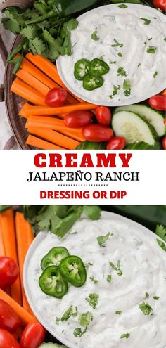 Creamy jalapeño ranch dip (or dressing) is loaded with mild chile peppers, both jalapeño and canned green chiles. This sauce is so easy and delicious with chips, veggies, tacos, or salads. Dip Recipes, Appetizer Recipes, Easy Recipes, Snack Recipes, Easy Meals, Appetizers, Cooking Recipes, Healthy Recipes, Jalapeno Ranch Dressing