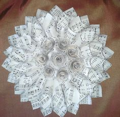11 Inch Vintage Hymnal Page Wall Flower Made With Paper Cones and Rolled Rosettes In Center Sheet Music Art, Music Sheets, Hymn Art, Paper Wreaths, Book Page Wreath, Book Page Crafts, Music Crafts, Paper Cones, Church Crafts