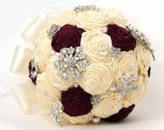 cream roses with maroon tips wedding bouquet - Google Search