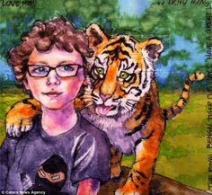 Devoted mom: One of Ms Levy's sons, Ansel, is painted with a tiger cub for his lunchtime artistic treat
