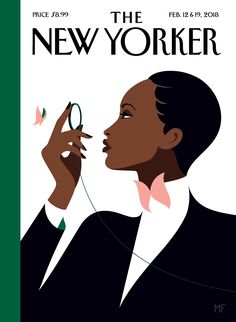 'BUTTERFLY EFFECT' 2018 cover illustration The New Yorker magazine Set. 12 & 19 issue by Malika Favre of elegantly dressed woman with monocle in a tribute to Eustace Tilley the monocled 1925 creation of Rea Irvin for The New Yorker The New Yorker, New Yorker Mode, New Yorker Covers, Capas New Yorker, Pop Art, Illustration Art Nouveau, Magazine Illustration, Portrait Illustration, Magazine Mode