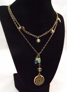 Brass & Glass Beaded 2 Strand Necklace