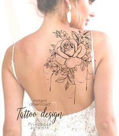 Tattoo design Women's Flower ' Digital female floral pattern design to print, tattoo for thigh back shoulder, unique woman tattoo art - Tattoo design Fleur Féminine design motif floral féminin image 1 - Floral Back Tattoos, Girl Back Tattoos, Baby Tattoos, Cute Tattoos, Body Art Tattoos, Feminine Back Tattoos, Tattoo Art, Tatoos, Front Shoulder Tattoos