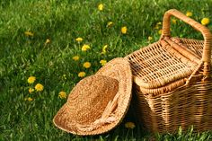 woven picnic basket and wide-brimmed hat on lawn