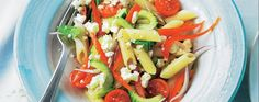 The whole family will enjoy this summer-holiday-inspired Greek style pasta salad recipe with its tangy feta and sun-ripened vegetables.
