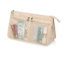 Woman Colorful Cosmetic Bag Travel Toiletry Cosmetic Makeup Bag Organizer (cream-coloured) -- You can get additional details at the image link.