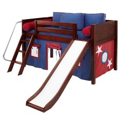 Wow 21NT Twin Low Loft Bed with Slide, Angled Ladder and Curtain $1,145.00