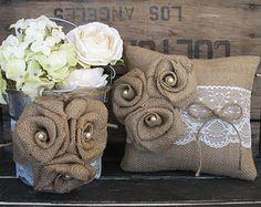 Niña de las flores canasta anillo portador almohada Set boda Chic Shabby boda rústica arpillera y encaje