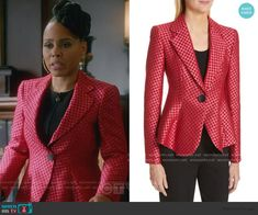 Tegan's red jacquard printed blazer on How to Get Away with Murder Printed Blazer, How To Get Away, Other Outfits, Emporio Armani, Gypsum, Fashion Outfits, Prints, Red, Jackets