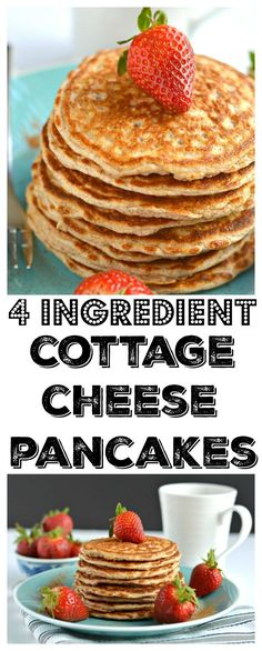 Cottage Cheese Pancakes madewith fourhealthyingredients andcrazy delicious. They're low calorie, gluten free andsuper simple to make. These protein pancakes are soon to be your new everyday breakfastfavorite!Gluten Free + Low Calorie