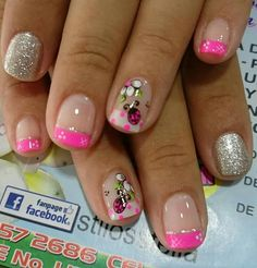 Uñas Cute Pedicure Designs, Girls Nail Designs, Short Nail Designs, Nail Art Designs, Short Gel Nails, Short Nails Art, Crazy Nails, Funky Nails, Little Girl Nails