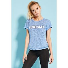 Forever 21 Women's  Active Sundaze Split-Back Tee ($13) ❤ liked on Polyvore featuring tops, t-shirts, swim t shirts, burnout tee, short sleeve tops, swim tops and burnout t shirt