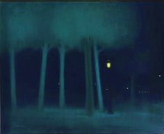 Jozsef Rippl-Ronai - A Park at Night, pastel, his black period, 1895 (post-impressionism, symbolism).