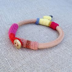 leather crocheted cotton, pebble and vintage gold button. Handmade bracelet.