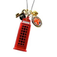 Vintage Little Red Phone Box and Union Jack Locket Charm Necklace... Put it around my neck now!!