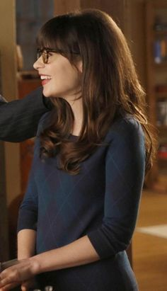 Jess's navy blue check sweater on New Girl.  Outfit Details: http://wornontv.net/10158/ #NewGirl #Fox