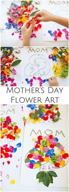 Make beautiful Mother's Day flower art with the kids. Wouldn't these make pretty cards? Free printable included.