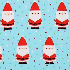 blauer Candy Claus Weihnachtsmann Stoff von Michael Miller 1