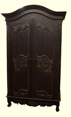 French Entertainment Armoire   Antique Black W/Harlequin Interior ...