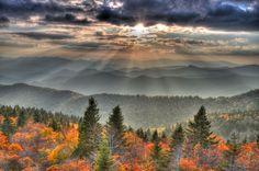 Blue Ridge Parkway Sunset, near Bryson City, North Carolina