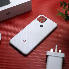 Google Pixel 5 - White Carbon Fibre and Red Carbon Fibre Skin Back Camera, Brushed Metal, Phone Stand, New Phones, Carbon Fiber, Your Design, Bubbles, Smartphone, Alcohol