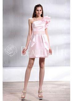 $167.99Flouncing #One-Shoulder Satin #Sheath/Column Short #Wedding Dress With Embroidered Sash Mini Wedding Dresses, Spring Trends, Sash, Pink Dress, One Shoulder, Bridesmaid, Prom, Formal Dresses, Beautiful