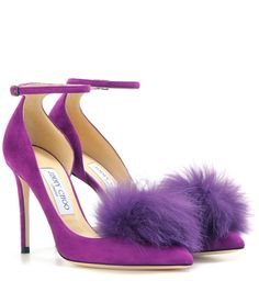 Jimmy Choo - Rosa 100 suede pumps with clip-on fur pompoms - The Rosa 100 pumps from Jimmy Choo's PICK & CHOOs collection come with clip-on fox fur pompoms for a look that is completely customisable and unique. The rich purple suede pair features a pointed toe, slender ankle straps and open d'Orsay sides. Attach the pompoms at the toes for a plush note of texture, or alternatively, mix and match your look with more charms from Jimmy Choo. seen @ www.mytheresa.com...
