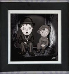 decoración bebé infantil regalo dibujo arte diseño cine amor niños vintage ropa venta digital cuadro ilustración original b&n chico charlot naif