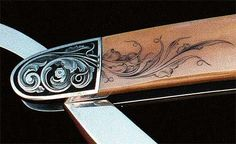 Premier Hand Engraving Artist, as well as inventor of the Air Chasing Graver. Exhibition grade gold inlay, wildlife scenes, and various scroll decorations on only the finest knives, guns and jewelry. Engraved Knife, Steve J, Engraving Art, High Art, Gravure, Filigree, Craftsman, Knifes, Metal