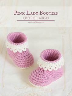 Free crochet pattern Pink Lady Baby Booties in months and months sizes by Hopeful Honey Learn how to create these whimsically adorable Pink Lady baby crochet booties, a perfect addition to any little girl's wardrobe! Crochet Baby Shoes, Crochet Baby Clothes, Crochet Slippers, Baby Bootie Crochet Pattern, Crocheted Baby Booties, Knitted Baby, Hat Crochet, Crochet Dolls, Baby Slippers