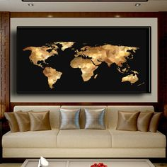 Modern art world map black gold abstract valuable paintings household wall adornment frameless paintings