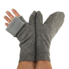 Men's Convertible Mittens in Cloudy Day Grey  by mirabeans on Etsy