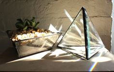 sunshine pyramid - handmade stained glass triangle