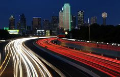 Do the light keep any trail behind as it moves? I did not think so. It was a great curiosity of mine until I came to know about light trail photography. Light Trail Photography, Street Photography, Dallas Skyline, Light Trails, Real Estate News, Beautiful Lights, The Next, Places, Flow
