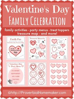 Valentine's Day Family Celebration printables - activity treasure map, fun menus, and treat toppers for a fun family day!