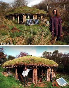 """Undiscovered Hobbit Tribe of Pembrokeshire --- For five years, they were left entirely alone, unnoticed by the world outside while enjoying a quiet sustainable life in hidden green-roofed hobbit-like houses in the Welsh countryside. Natural Building, Green Building, Eco Construction, Earth Sheltered Homes, Underground Homes, Natural Homes, Earth Homes, Earthship, Cabana"